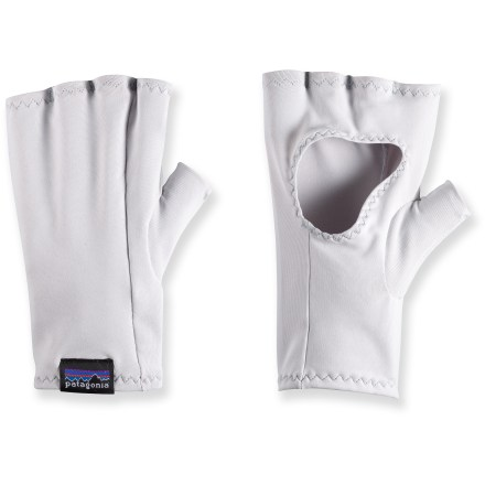 Camp and Hike The Patagonia Sun gloves protect your hands from harmful UV rays while casting a line, strolling the beach or paddling a canoe. Sun gloves eliminate the need for sunscreen so your hands won't be slippery when working with a fishing pole and flies. Quick-drying, UPF 30 recycled polyester/spandex fabric blend is light, stretchy and comfortable. Webbed-finger design and out-of-the-way seam placement allow easy on and off. - $16.93