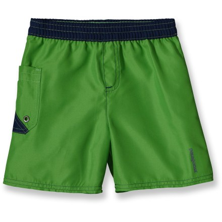 The itty bitty Daybreaker Boardies shorts from Patagonia wear light but tough, dry in a hurry and are handsomely styled to showcase your funhog's cherubic physique. Lightweight polyester microfiber fabric with its soft, brushed face and a Durable Water Repellent finish sheds everything from seawater to spilt ice cream. Daybreaker Boardies shorts have an elasticized waistband with an internal drawcord for an adjustable fit. Single patch pocket with a drain grommet. - $13.83