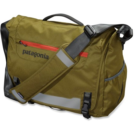 Entertainment Divide and conquer your gear with the Patagonia Critical Mass Messenger bag. Bag organizes a day's worth of gear, from your gym clothes, to reading materials, to your laptop. Main compartment features a padded sleeve that's raised off the ground and holds most 17 in. laptops. Large elastic side pocket holds a phone, power cord or water battle. Reflective top flap has a webbing bike-light mount. External zippered, water-resistant pocket stashes your wallet and keys. Toting options include an adjustable, padded shoulder strap and top carrying handle. Made of sturdy, recycled polyester with a polyurethane coating and Durable Water Repellent treatment for weather resistance. This item meets carry-on size restrictions for most airlines (size not to exceed 45 linear inches when adding L+W+H; this is subject to change, so check with your airline). Closeout. - $68.73