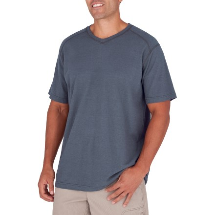 Entertainment Kick back and relax in the inescapable comfort of the Royal Robbins Flynn V-neck T-shirt. Hemp and organic cotton come together for an irresistible texture that's soft, lightweight and breathable. Hemp and organic cotton jersey provide lightweight, breathable comfort that naturally resists odor. Integrated UPF 30 sun protection continuously guards against harmful ultraviolet rays, keeping your skin safe no matter how long your day lasts. Royal Robbins Flynn V-neck shirt features a loose, relaxed fit. Closeout. - $19.73