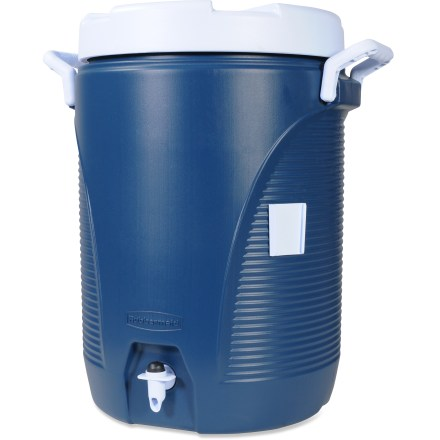 Camp and Hike The Rubbermaid 5 gal. water cooler has a durable, crack-resistant polyethylene jacket to keep it from scratching, denting or fading despite regular use on car-camping adventures. - $19.83