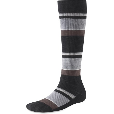 Excellent for travel or trekking around town, the SmartWool StandUP women's socks offer classic styling with proven comfort. Wool wicks away moisture and breathes to regulate temperature for outstanding comfort in a variety of conditions. Nylon adds durability and feels like cotton against skin; spandex supplies stretch and comfort. Graduated compression minimizes calf, ankle and foot swelling, reducing fatigue. Toe seam is buried within fabric to reduce chafing. *Discount will be applied when you check out. Offer not valid for sale-price items ending in $._3 or $._9. - $17.93