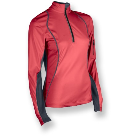 The Sugoi Firewall 180 Zip top lets you focus on your workout instead of the weather. Lightweight, stretch soft-shell fabric features a breathable polyurethane laminate to resist wind and water. Durable Water Repellent finish fends off light rain showers and snow. Moisture-wicking interior helps prevent clamminess. Stretch-knit sleeves provide a non-constricting fit. Thumbholes secure sleeves over hands for warmth. Zippered sleeve pocket holds ID, key or media player. Reflective accents on the Sugoi Firewall 180 Zip jacket help keep you visible. Pro fit offers a next-to-skin fit for excellent warmth retention. Closeout. - $52.73