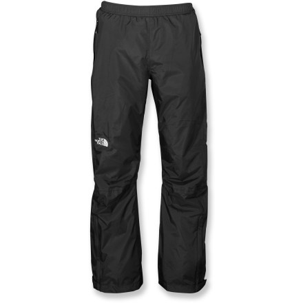 Snowboard The North Face Venture Side-Zip pants are engineered to withstand severe rain and wind, and styled with full-length side zippers for convenient on and off over clothing and boots. Venture rain pants are a great choice for fast-paced activities in wet weather and a staple that every outdoor enthusiast will appreciate. HyVent(R) EC 2.5-layer substitutes natural (bean-derived) castor oil for 50% of the petroleum-based materials previously used in the manufacturing process. HyVent EC maintains excellent waterproof, breathable performance; it's ideal for spring skiing and snowboarding, as well as urban and city hiking. HyVent is lightweight and packable, moves easily over layers and is more breathable than unlined, treated fabrics. All seams are sealed for complete protection. Elastic waist with drawcord adjustment. Full-length side zippers and rip-and-stick waist and cuff tabs. 2 hand pockets; pants stow inside a pocket. The North Face Venture side-zip pants have an easy, regular fit. - $99.00