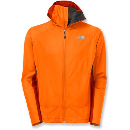 The North Face Alpine Project Hybrid hoodie for men combines elements of a hard shell, soft shell and cozy hoodie into a jacket you'll want to wear in any weather. Gore Windstopper(R) material completely blocks wind and sheds water for total weather resistance without being stiff or restrictive. Breathable stretch nylon panels on sides and upper back promote increased comfort for a wide range of conditions or when working hard. Close-fitting hood fits easily under helmets and adjusts using hidden cord locks; laminated brim sheds water and holds its shape. 2 zippered front pockets sit high on the torso for harness and pack compatibility. The North Face Alpine Project Hybrid hoodie features a hidden hem cinch cord to seal in warmth. The North Face Summit Series(TM) apparel is designed and tested for use in harsh environments. - $199.00