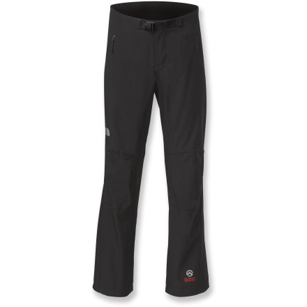 Camp and Hike When climbing into thin air or descending into rocky canyons, The North Face Satellite pants provide rugged durability and comfort so you can perform at your best. Woven nylon with added stretch is breathable, abrasion-resistant and stretches easily to match your every move. Durable Water Repellent finish causes water to bead up and roll off, fending off light rain showers and snow. Low rise waist reduces bulk in the front while a higher rise in the back protects skin and reduces discomfort while wearing a harness or pack. Articulated knees support free range of motion; adjustable belt is integrated into the waistline so there's no bulky interference. 2 zippered front pockets secure small valuables. The North Face Satellite pants are part of the Summit Series(TM), apparel idesigned and tested for use in harsh environments. - $130.00