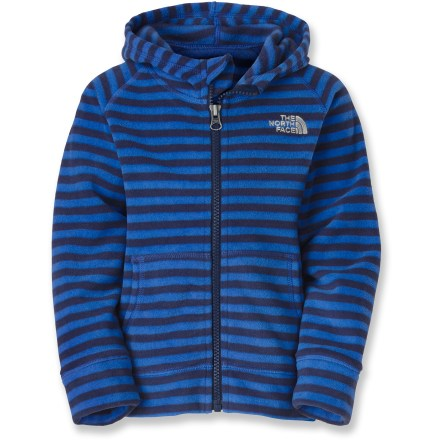 The North Face Striped Glacier Full-Zip Fleece hoodie ensures that even the littlest outdoor enthusiasts are outfitted in style while staying protected from the elements. Lightweight polyester fleece is durable, pill-resistant and cozy. 2 handwarmer pockets; full-length zipper. - $40.00