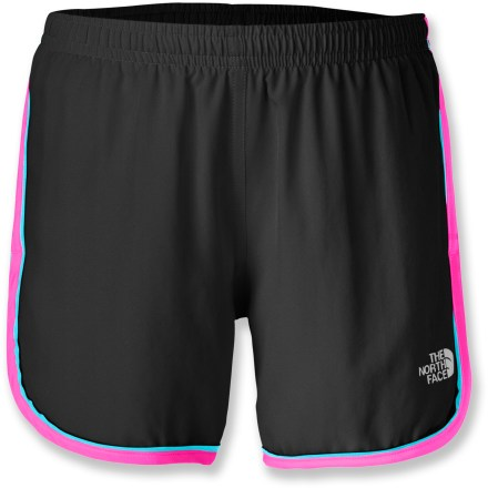 The North Face lets girls pick up the pace with their Velocitee Shorts. Girls will enjoy the fit and feel and appreciate the lightweight material that never weighs them down while they're on the go. Lightweight woven polyester fabric is great for active girls who want shorts that are comfortable for wearing while playing outside or just hanging around the house. Elastic waistband with interior drawcord provides a snug and customizable fit. Velocitee Shorts feature an internal security pocket that holds a key or small media player for hands-free convenience. - $16.93