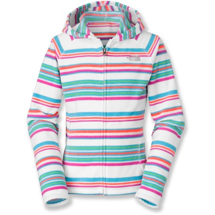 Girls will easily escape the winter chill with the cozy fleece and warm colors of the Striped Glacier Full-Zip hoodie by The North Face. Soft polyester fleece makes for a comfortable layer under a rain jacket or over a T-shirt. Durable brushed surface resists pilling. Hand pockets on the Striped Glacier Full-Zip Hoodie keep her hands warm when she doesn't want to pull out her mittens. - $34.93