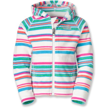 The North Face Striped Glacier full-zip hoodie gives young girls a cheerful option for a warm, soft layer when the going gets cold. Quick-drying polyester fleece is lightweight yet keeps her super warm when a chill is in the air. Full-length zipper allows easy dressing and temperature regulation. The North Face Striped Glacier full-zip hoodie features hand pockets that provide a great place to warm cold hands or stash goodies. - $27.93