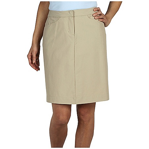 Free Shipping. Ex Officio Women's Gallivant Skirt DECENT FEATURES of the Ex Officio Women's Gallivant Skirt Security zip back pocket Back kick pleat DWR Stretch: Stretch fabric provides maximum mobility and comfort during activity High Strngth: Fabric has high tear strength ratio for maximum durability Water Resistant: Lightly coated with polyurethane to resist the penetration of water Sun Guard 50+: Specialized fabric rated with a UPF (Ultraviolet Protection Factor) absorbs and reflects harmful rays, preventing them from damaging your skin Wind Resistant: Fabric is treated or woven tightly to create a barrier from wind Stain Resistant: Resists the penetration of stains, making it easier to blot or launder The SPECS Natural fit Gallivant Stretch 96% Nylon/4% Spandex - $69.95
