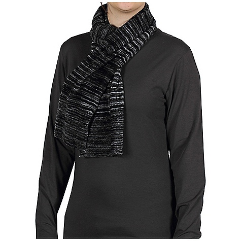 Ex Officio Women's Irresistible Neska Stripe Scarf The SPECS Lightweight: Lightweight fibers make this weigh less than a similar garment Soft: This fabric has a nice feel and is soft on skin Thermal: Effectively retains body heat Wrinkle Resistant: Fiber weave recovers quickly from folding and creasing and releases wrinkles without heat Length: 56in. Fabric: Chenille Feather Fleece, 100% Nylon - $37.95