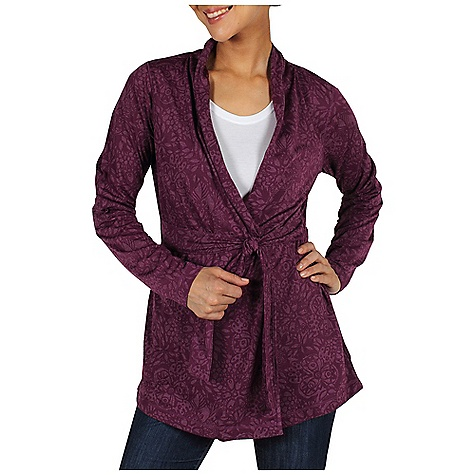 Free Shipping. Ex Officio Women's Aza Cardigan Wrap DECENT FEATURES of the Ex Officio Women's Aza Cardigan Wrap Dri-Release knit Security zipper pocket Interior button for wrap belt Gathering at back waist for multi-fit Tag less label for added comfort Floating pocket loop Natural fit The SPECS Lightweight: Lightweight fibers make this weigh less than a similar garment Odor Resistant: Resists growth of bacteria and fungus that cause odors Quick Drying: Fibers release moisture easily so garment dries rapidly Ventilation: Strategically placed vents circulate air to decrease body temperature Moisture Wicking: Fabric moves moisture along the garment's surface away from the skin Wrinkle Resistant: Fiber weave recovers quickly from folding and creasing and releases wrinkles without heat Fabric: Dri-Release Aza Burnout, 90% Polyester, 10% Cotton - $94.95