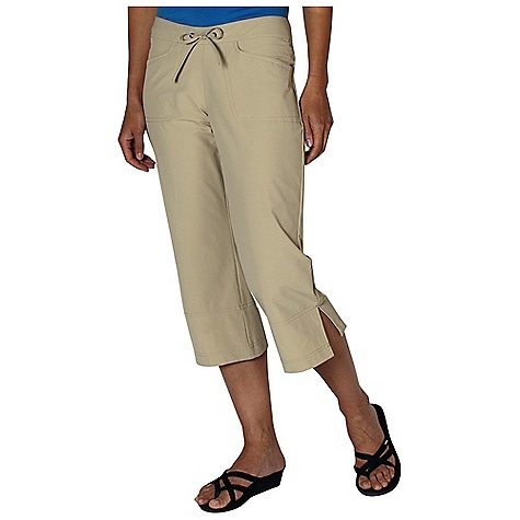 Free Shipping. Ex Officio Women's Gallivant Capri DECENT FEATURES of the Ex Officio Women's Gallivant Capri Adjustible drawcord waist Invisible security zip pocket DWR Stretch: Stretch fabric provides maximum mobility and comfort during activity High Strngth: Fabric has high tear strength ratio for maximum durability Water Resistant: Lightly coated with polyurethane to resist the penetration of water Sun Guard 50+: Specialized fabric rated with a UPF (Ultraviolet Protection Factor) absorbs and reflects harmful rays, preventing them from damaging your skin Wind Resistant: Fabric is treated or woven tightly to create a barrier from wind Stain Resistant: Resists the penetration of stains, making it easier to blot or launder The SPECS Natural fit Gallivant Stretch 96% Nylon/4% Spandex - $69.95