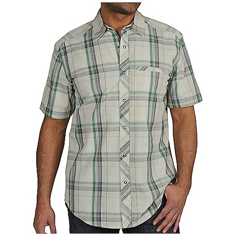 Free Shipping. Ex Officio Men's Roughian Macro Plaid S-S Top DECENT FEATURES of the Ex Officio Men's Roughian Macro Plaid Short Sleeve Top Zipper security chest pocket Drop-in cell pocket Ring snap closure Integrated locker loop Natural fit The SPECS Lightweight: Lightweight fibers make this weigh less than a similar garment Security Zip Pocket: Pocket with a zipper closure to keep belongings safe Fabric: 61% Cotton/ 32% Tencel 7% Nylon - $59.95
