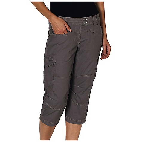 Free Shipping. Ex Officio Women's Roughian Capri DECENT FEATURES of the Ex Officio Women's Roughian Capri Extended tab contoured waistband Security zip pocket in left front pocket Hidden snap flap back pockets Stretch: Stretch fabric provides maximum mobility and comfort during activity Pre/Shrunk: Pre/washed to prevent shrinking High Strngth: Fabric has high tear strength ratio for maximum durability Sun Guard 50+: Specialized fabric rated with a UPF (Ultraviolet Protection Factor) absorbs and reflects harmful rays, preventing them from damaging your skin The SPECS Natural fit Roughian Canvas 75% Cotton/22% Polyester/3% Spandex - $79.95