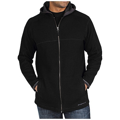 Free Shipping. Ex Officio Men's Roughian Hooded Sweater DECENT FEATURES of the Ex Officio Men's Roughian Hooded Sweater Interior security zip pocket 2 Interior drop-in pockets Flat lock stitching Tag less label for added comfort Floating pocket loop 2nd Layer fit The SPECS Lightweight: Lightweight fibers make this weigh less than a similar garment Wool: This fabric has wool content for extra warmth Thermal: Effectively retains body heat Fabric: Wool Sweater Fleece, 42% Wool, 40% Polyester, 18% Nylon - $129.95