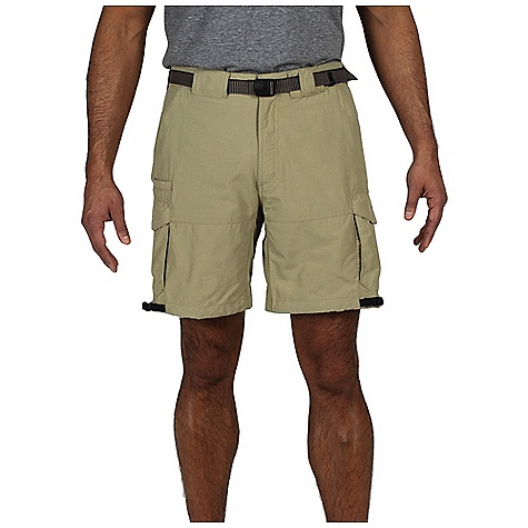 Free Shipping. Ex Officio Men's Nio Amphi Short DECENT FEATURES of the Ex Officio Men's Nio Amphi Short Security zip back pockets Drop-in cell pocket Removable belt Removable thigh cinch Tricot lined waistband Partial elastic waist Lightweight: Lightweight fibers make this weigh less than a similar garment Quick Drying: Fibers release moisture easily so garment dries rapidly Stain Resistant: Resists the penetration of stains, making it easier to blot or launder Water Resistant: Lightly coated with polyurethane to resist the penetration of water Sun Guard 50+: Specialized fabric rated with a UPF (Ultraviolet Protection Factor) absorbs and reflects harmful rays, preventing them from damaging your skin Indestructible Button System: Buttons are secured by nylon loops sewn into the garment for durability The SPECS Relaxed fit Inseam: 8 1/2in. Nio Nycott 100% Nylon - $64.95