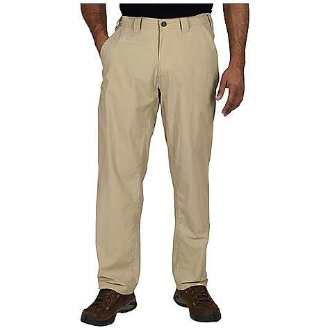 Free Shipping. Ex Officio Men's Nomad Pant DECENT FEATURES of the Ex Officio Men's Nomad Pant Full inseam gusset Partial elastic waist Security zip back pocket Security zip leg pocket Drop-in cell pocket Lightweight: Lightweight fibers make this weigh less than a similar garment Sun Guard 30+: Specialized fabric rated with a UPF (Ultraviolet Protection Factor) absorbs and reflects harmful rays, preventing them from damaging your skin Quick Drying: Fibers release moisture easily so garment dries rapidly Stain Resistant: Resists the penetration of stains, making it easier to blot or launder Water Resistant: Lightly coated with polyurethane to resist the penetration of water The SPECS Relaxed fit Inseam: Short: 30in., regular: 32in. Nycott 100% Nylon - $69.95