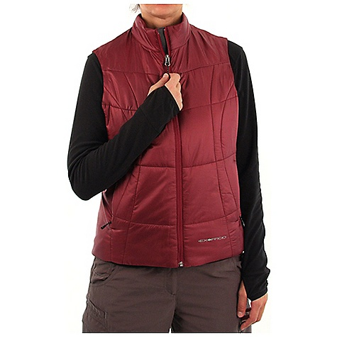 Entertainment Free Shipping. Ex Officio Women's Storm Logic Vest DECENT FEATURES of the Ex Officio Women's Storm Logic Vest 4 Exo Travel System pockets Converts to travel pillow 20 denier - featherweight polyester microfiber mini ripstop shell Exo DWR finish for water resistance The SPECS High Warmth to Weight: The warmth of the garment is very high for the weight of the fabric Water Resistant: Lightly coated with polyurethane to resist the penetration of water Windproof: Fabric is treated or woven tightly to create a barrier from wind Thermal: Effectively retains body heat Soft: This fabric has a nice feel and is soft on skin Lightweight: Lightweight fibers make this weigh less than a similar garment Security Zip Pocket: Pocket with a zipper closure to keep belongings safe Fabric: Shell / Lining: 100% Potyesle, Insulation: Primaloft one - $119.95