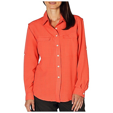 Free Shipping. Ex Officio Women's Gill L-S Top DECENT FEATURES of the Ex Officio Women's Gill Long Sleeve Top Button front placket One drop-in and one zip chest pocket Gill style ventilation at side and back panel Roll-up sleeve tabs Wrinkle Resistant: Fiber weave recovers quickly from folding and creasing and releases wrinkles without heat Quick Drying: Fibers release moisture easily so garment dries rapidly Sun Guard 20+: Specialized fabric rated with a UPF (Ultraviolet Protection Factor) absorbs and reflects harmful rays, preventing them from damaging your skin Ventilation: Strategically placed vents circulate air to decrease body temperature Lightweight: Lightweight fibers make this weigh less than a similar garment The SPECS Relaxed fit Airflow Dobby 52% Rayon/48% Polyester - $69.95