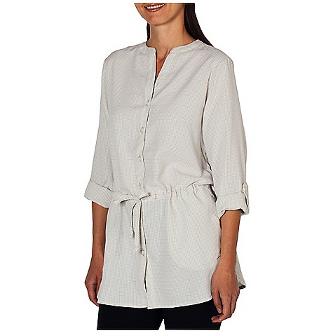 Free Shipping. Ex Officio Women's Gill Cover Top DECENT FEATURES of the Ex Officio Women's Gill Cover Top Button front placket Hand pockets with hidden security zip pocket Removable drawcord at waist Roll-up sleeve tabs Wrinkle Resistant: Fiber weave recovers quickly from folding and creasing and releases wrinkles without heat Lightweight: Lightweight fibers make this weigh less than a similar garment Quick Drying: Fibers release moisture easily so garment dries rapidly Sun Guard 20+: Specialized fabric rated with a UPF (Ultraviolet Protection Factor) absorbs and reflects harmful rays, preventing them from damaging your skin The SPECS Relaxed fit Airflow Dobby 52% Rayon/48% Polyester - $74.95