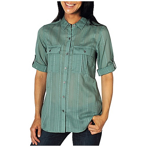 Free Shipping. Ex Officio Women's Kamili 3-4 Sleeve Top DECENT FEATURES of the Ex Officio Women's Kamili 3/4 Sleeve Top Button front placket Roll/up sleeve tabs Lightweight: Lightweight fibers make this weigh less than a similar garment Ventilation: Strategically placed vents circulate air to decrease body temperature The SPECS Natural fit CVC stripe 55% Cotton/45% Polyester - $59.95