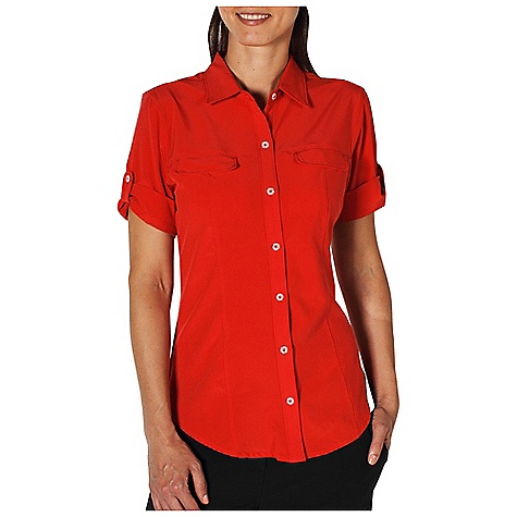 Free Shipping. Ex Officio Women's Kizmet Camper S-S Top DECENT FEATURES of the Ex Officio Women's Kizmet Camper Short Sleeve Top Invisible security zip pocket in princess seam Button front placket Lightweight: Lightweight fibers make this weigh less than a similar garment Quick drying: Fibers release moisture easily so garment dries rapidly Stretch: Stretch fabric provides maximum mobility and comfort during activity Sun Guard 50+: Specialized fabric rated with a UPF (Ultraviolet Protection Factor) absorbs and reflects harmful rays, preventing them from damaging your skin Wicking: Fabric moves moisture along the garment's surface away from the skin The SPECS Natural fit Kizmet Stretch 86% Polyester/14% Spandex - $69.95