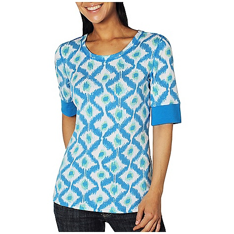 Free Shipping. Ex Officio Women's Go To Crew Diamond 1-2 Sleeve Top DECENT FEATURES of the Ex Officio Women's Go To Crew Diamond 1/2 Sleeve Top Tagless label for added comfort Stretch: Stretch fabric provides maximum mobility and comfort during activity Odor Resistant: Resists growth of bacteria and fungus that cause odors Quick drying: Fibers release moisture easily so garment dries rapidly Wicking: Fabric moves moisture along the garment's surface away from the skin The SPECS Slim fit DriRelease Go/To 81% Polyester/14% Cotton/5% Spandex - $54.95