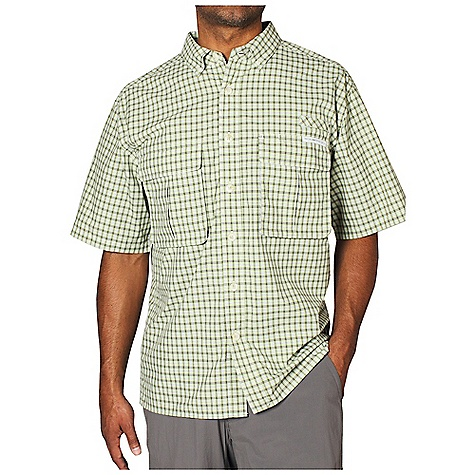 Free Shipping. Ex Officio Men's Air Strip Micro Plaid SS Woven DECENT FEATURES of the Ex Officio Men's Air Strip Micro Plaid Short Sleeve Woven Button front placket Airomesh lined ventilation system 3 position sun collar Utility tab Bellows pockets with security zip Button down collar Lightweight: Lightweight fibers make this weigh less than a similar garment Quick Drying: Fibers release moisture easily so garment dries rapidly Ventilation: Strategically placed vents circulate air to decrease body temperature Moisture Wicking: Fabric moves moisture along the garment's surface away from the skin Sun Guard 30+: Specialized fabric rated with a UPF (Ultraviolet Protection Factor) absorbs and reflects harmful rays, preventing them from damaging your skin The SPECS Relaxed fit Drylite Micro Plaid 56% Nylon/44% Polyester - $84.95