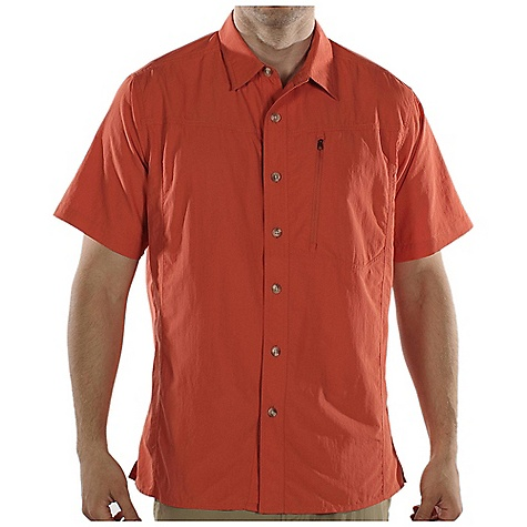 Free Shipping. Ex Officio Men's GeoTrek'r SS Woven DECENT FEATURES of the Ex Officio Men's GeoTrek'r Short Sleeve Woven Angled entry, exposed zipper chest pocket Locker loop Back knife pleats for added mobility Natural fit The SPECS Lightweight: Lightweight fibers make this weigh less than a similar garment Quick Drying: Fibers release moisture easily so garment dries rapidly Sun Guard 30+: Specialized fabric rated with a UPF (Ultraviolet Protection Factor) absorbs and reflects harmful rays, preventing them from damaging your skin Ventilation: Strategically placed vents circulate air to decrease body temperature Moisture Wicking: Fabric moves moisture along the garment's surface away from the skin Security Zip Pocket: Pocket with a zipper closure to keep belongings safe Fabric: 100% Nylon - $54.95