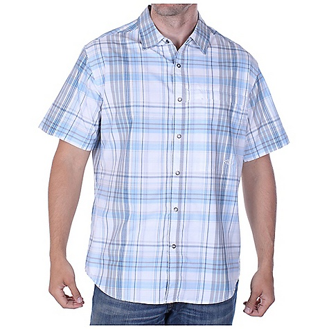 Free Shipping. Ex Officio Men's Trip'r Drylite Macro Plaid SS Woven DECENT FEATURES of the Ex Officio Men's Trip'r Drylite Macro Plaid Short Sleeve Woven Zipper security chest pocket with tether point Back yoke ventilation Ring snap closure Integrated locker loop Natural fit The SPECS Lightweight: Lightweight fibers make this weigh less than a similar garment Quick Drying: Fibers release moisture easily so garment dries rapidly Ventilation: Strategically placed vents circulate air to decrease body temperature Sun Guard 30+: Specialized fabric rated with a UPF (Ultraviolet Protection Factor) absorbs and reflects harmful rays, preventing them from damaging your skin Moisture Wicking: Fabric moves moisture along the garment's surface away from the skin Security Zip Pocket: Pocket with a zipper closure to keep belongings safe Fabric: 56% Nylon / 44% Polyester - $74.95