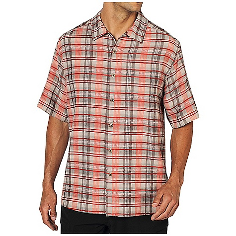 Free Shipping. Ex Officio Men's Now Boarding Plaid S-S Top DECENT FEATURES of the Ex Officio Men's Now Boarding Plaid Short Sleeve Top Button front placket Wrinkle Resistant: Fiber weave recovers quickly from folding and creasing and releases wrinkles without heat The SPECS Relaxed fit Now Boarding Dobby 48% Polyester/42% Rayon/ 10% Linen - $59.95