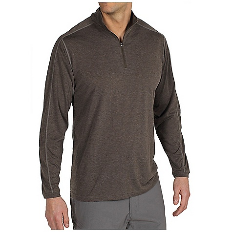 Free Shipping. Ex Officio Men's ExO Dri 1-4 Zip DECENT FEATURES of the Ex Officio Men's ExO Dri 1/4 Zip Dri-release knit Ribbed collar and cuff Contrast Flat lock stitching Tag less label for added comfort Saddle shoulder Floating pocket loop Relaxed fit The SPECS Lightweight: Lightweight fibers make this weigh less than a similar garment Odor Resistant: Resists growth of bacteria and fungus that cause odors Quick Drying: Fibers release moisture easily so garment dries rapidly Sun Guard 20+: Specialized fabric rated with a UPF (Ultraviolet Protection Factor) absorbs and reflects harmful rays, preventing them from damaging your skin Moisture Wicking: Fabric moves moisture along the garment's surface away from the skin Fabric: Dri-release heather jersey, 85% Polyester, 15% Cotton - $54.95