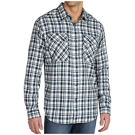 Free Shipping. Ex Officio Men's Roughian Plaid Flannel L-S DECENT FEATURES of the Ex Officio Men's Roughian Plaid Long Sleeve Flannel Security zip chest pockets Back knife pleats for added mobility Ring snap closure Locker loop Floating pocket loop Natural fit The SPECS Lightweight: Lightweight fibers make this weigh less than a similar garment High Warmth to Weight: The warmth of the garment is very high for the weight of the fabric Quick Drying: Fibers release moisture easily so garment dries rapidly Fabric: Hollow Yarn Midi, 100% Hallow yarn polyester - $79.95