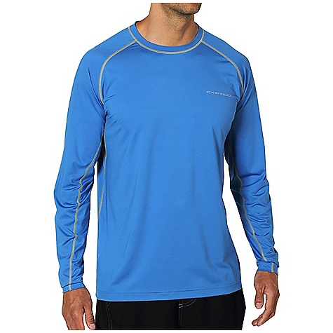 Free Shipping. Ex Officio Men's Sol Cool Printed Crew L-S DECENT FEATURES of the Ex Officio Men's Sol Cool Salmon Long Sleeve Crew Under arm sleeve gusset Flatlock stitching Tagless label for added comfort Raglan sleeve Antimicrobial Lightweight: Lightweight fibers make this weigh less than a similar garment Quick Drying: Fibers release moisture easily so garment dries rapidly Odor Resistant: Resists growth of bacteria and fungus that cause odors Stretch: Stretch fabric provides maximum mobility and comfort during activity Moisture Wicking: Fabric moves moisture along the garment's surface away from the skin Sun Guard 50+: Specialized fabric rated with a UPF (Ultraviolet Protection Factor) absorbs and reflects harmful rays, preventing them from damaging your skin The SPECS Natural fit Sol Cool Jersey 91% Polyester/9% Spandex - $59.95