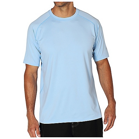 Free Shipping. Ex Officio Men's Sol Cool S-S Tee DECENT FEATURES of the Ex Officio Men's Sol Cool Short Sleeve Tee Under arm sleeve gusset Flatlock stitching Tagless label for added comfort Raglan sleeve Antimicrobial Lightweight: Lightweight fibers make this weigh less than a similar garment Quick Drying: Fibers release moisture easily so garment dries rapidly Odor Resistant: Resists growth of bacteria and fungus that cause odors Stretch: Stretch fabric provides maximum mobility and comfort during activity Moisture Wicking: Fabric moves moisture along the garment's surface away from the skin Sun Guard 50+: Specialized fabric rated with a UPF (Ultraviolet Protection Factor) absorbs and reflects harmful rays, preventing them from damaging your skin The SPECS Natural fit Sol Cool Jersey 91% Polyester/9% Spandex - $49.95