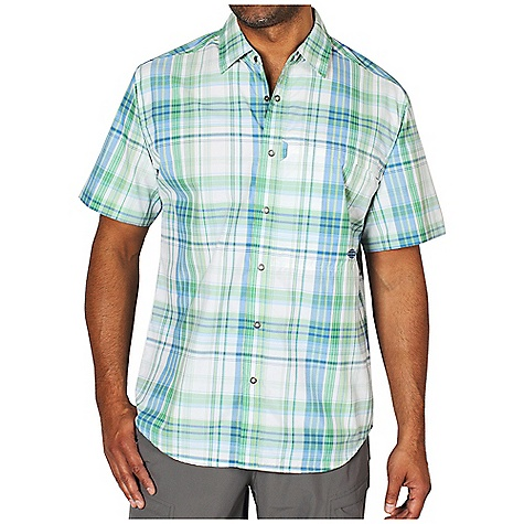 Free Shipping. Ex Officio Men's Trip'r Macro Plaid S-S Top DECENT FEATURES of the Ex Officio Men's Trip'r Macro Plaid Short Sleeve Top Security zip pocket Ring snap closure Locker Loop Back yoke ventilation Lightweight: Lightweight fibers make this weigh less than a similar garment Sun Guard 40+: Specialized fabric rated with a UPF (Ultraviolet Protection Factor) absorbs and reflects harmful rays, preventing them from damaging your skin Moisture Wicking: Fabric moves moisture along the garment's surface away from the skin Quick Drying: Fibers release moisture easily so garment dries rapidly Ventilation: Strategically placed vents circulate air to decrease body temperature The SPECS Natural fit Drylite Macro Plaid 56% Nylon/44% Polyester - $74.95