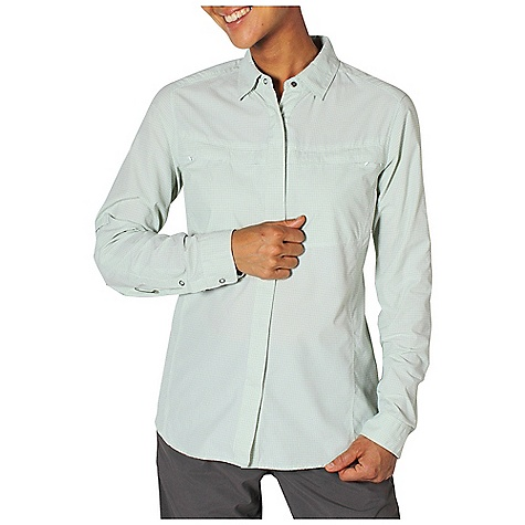 Free Shipping. Ex Officio Women's BugsAway Halo Check Top DECENT FEATURES of the Ex Officio Women's BugsAway Halo Check Top Hidden snap placket Hidden button down collar Two security zip pockets Airomesh/lined Ventilation back pannel Roll/up sleeve tabs Quick drying: Fibers release moisture easily so garment dries rapidly Sun Guard 30+: Specialized fabric rated with a UPF (Ultraviolet Protection Factor) absorbs and reflects harmful rays, preventing them from damaging your skin Wicking: Fabric moves moisture along the garment's surface away from the skin Ventilation: Strategically placed vents circulate air to decrease body temperature Anti/Insect: Insect Shield finish to repel flies, ticks, mosquitoes, chiggers, midges, and ants Lightweight: Lightweight fibers make this weigh less than a similar garment The SPECS Natural fit Halo Check 100% Nylon - $98.95