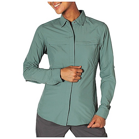 Free Shipping. Ex Officio Women's BugsAway Halo Top DECENT FEATURES of the Ex Officio Women's BugsAway Halo Top Hidden snap placket Hidden button down collar Two security zip pockets Airomesh/lined Ventilation back pannel Roll/up sleeve tabs Quick drying: Fibers release moisture easily so garment dries rapidly Sun Guard 30+: Specialized fabric rated with a UPF (Ultraviolet Protection Factor) absorbs and reflects harmful rays, preventing them from damaging your skin Wicking: Fabric moves moisture along the garment's surface away from the skin Ventilation: Strategically placed vents circulate air to decrease body temperature Anti/Insect: Insect Shield finish to repel flies, ticks, mosquitoes, chiggers, midges, and ants Lightweight: Lightweight fibers make this weigh less than a similar garment The SPECS Natural fit Ultralite Nylon 100% Nylon - $98.95