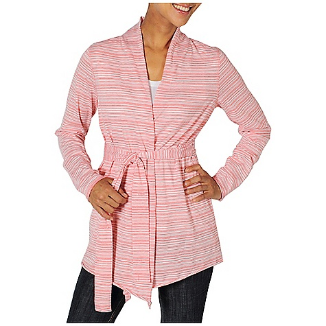 Free Shipping. Ex Officio Women's Go To Stripe Wrap L-S Top DECENT FEATURES of the Ex Officio Women's Go To Stripe Wrap Long Sleeve Top Security zipper pocket Interior button for wrap belt Tagless label for added comfort Stretch: Stretch fabric provides maximum mobility and comfort during activity Odor Resistant: Resists growth of bacteria and fungus that cause odors Quick drying: Fibers release moisture easily so garment dries rapidly Wicking: Fabric moves moisture along the garment's surface away from the skin The SPECS Natural fit 81% Polyester/14% Cotton/5% Spandex DriRelease Go/To Stripe - $79.95
