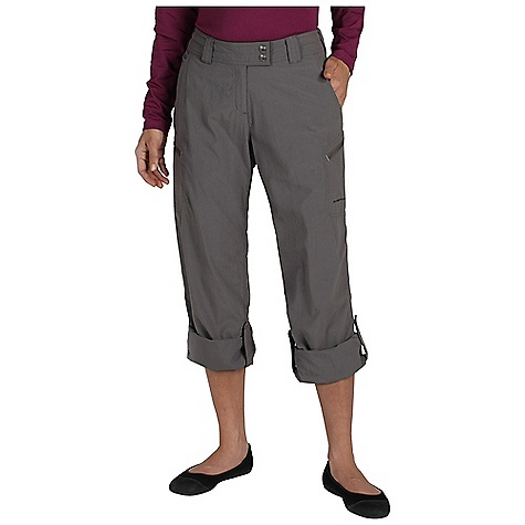 On Sale. Free Shipping. ExOfficio Women's Nomad Roll-Up Pant FEATURES of the Ex Officio Women's Nomad Roll/Up Pant Two security zip leg pockets Extended front waistband snap closure Tricot lined waistband Roll/up snap tabs on legs Quick drying: Fibers release moisture easily so garment dries rapidly Sun Guard 30+: Specialized fabric rated with a UPF (Ultraviolet Protection Factor) absorbs and reflects harmful rays, preventing them from damaging your skin Water Resistant: Lightly coated with polyurethane to resist the penetration of water Stain Resistant: Resists the penetration of stains, making it easier to blot or launder Lightweight: Lightweight fibers make this weigh less than a similar garment Convertible: Changes shape or silhouette for convenient adaptability - $43.99
