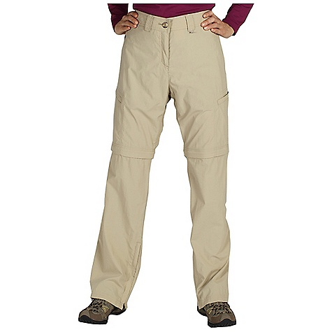 Free Shipping. Ex Officio Women's BugsAway Ziwa Convertible Pant DECENT FEATURES of the Ex Officio Women's Bugsaway Ziwa Convertible Pant Zippered leg pocket Drop-in cell pocket Security zip pocket in hand pocket Waist draw cord can be worn outside or pulled to inside Convertible zips off to 10in. short Floating pocket loop Relaxed Fit The SPECS Anti-Insect: Insect Shield finish to repel flies, ticks, mosquitoes, chiggers, midges, and ants Quick Drying: Fibers release moisture easily so garment dries rapidly Lightweight: Lightweight fibers make this weigh less than a similar garment Sun Guard 30+: Specialized fabric rated with a UPF (Ultraviolet Protection Factor) absorbs and reflects harmful rays, preventing them from damaging your skin Convertible: Changes shape or silhouette for convenient adaptability Inseam: petite: 29in., regular: 32in. Fabric: Nycott, 100% Nylon - $98.95