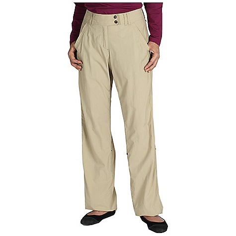 Free Shipping. Ex Officio Women's BugsAway Ziwa Pant DECENT FEATURES of the Ex Officio Women's Bugsaway Ziwa Pant Offset side seams Zippered back pocket Extended tab fixed waistband Roll-up snap tabs on legs Floating pocket loop Relaxed Fit The SPECS Anti-Insect: Insect Shield finish to repel flies, ticks, mosquitoes, chiggers, midges, and ants Quick Drying: Fibers release moisture easily so garment dries rapidly Lightweight: Lightweight fibers make this weigh less than a similar garment Sun Guard 30+: Specialized fabric rated with a UPF (Ultraviolet Protection Factor) absorbs and reflects harmful rays, preventing them from damaging your skin Inseam: petite: 29in., regular: 32in. Fabric: Nycott, 100% Nylon - $94.95