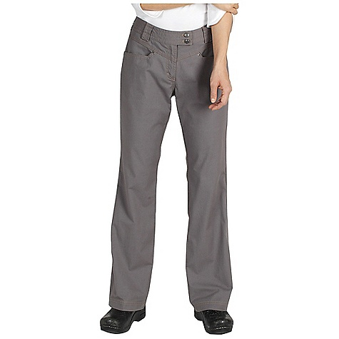 Free Shipping. Ex Officio Women's Roughian Pant DECENT FEATURES of the Ex Officio Women's Roughian Pant Extended tab contoured waistband Security zip pocket in left front pocket Hidden snap flap back pockets Stretch: Stretch fabric provides maximum mobility and comfort during activity Pre/Shrunk: Pre/washed to prevent shrinking High Strngth: Fabric has high tear strength ratio for maximum durability Sun Guard 50+: Specialized fabric rated with a UPF (Ultraviolet Protection Factor) absorbs and reflects harmful rays, preventing them from damaging your skin The SPECS Natural fit Roughian Canvas 75% Cotton/22% Polyester/3% Spandex - $89.95