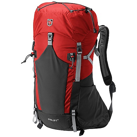Climbing Free Shipping. Fjallraven Friluft 35 Pack DECENT FEATURES of the Fjallraven Friluft 35 Pack Lightweight backpack with Friluft Ventilation Top loaded Expandable pockets in durable stretch polyamide Side pockets that hold 1 L bottles Adjustable loops for trekking poles Rain Cover: in bottom pocket The SPECS Weight: 1250 g excl. raincover Webbing: 100% polyamide Dimension: ( H x W x D): 69 x 39 x 28 cm Volume: 35 liter Rain Cover: Included System: Airvent Fabric: 100D Baby Ripstop polyamide, 500D polyamide - $169.95