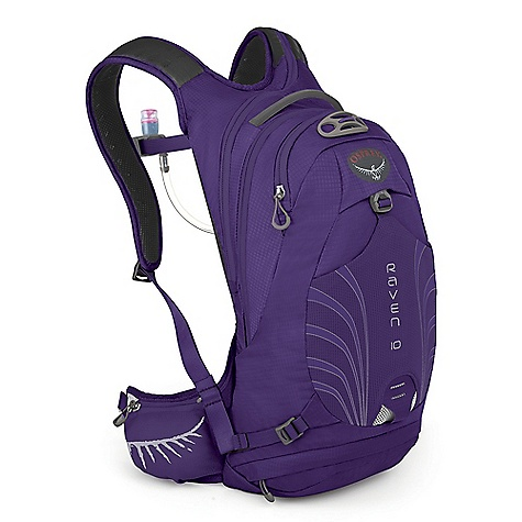 Camp and Hike Free Shipping. Osprey Women's Raven 10 Pack DECENT FEATURES of the Osprey Women's Raven 10 Pack AirScape backpanel provides cushioned comfort and breathability New BioStretch, ventilated harness is cool and comfortable Full hipbelt keeps pack stable and transfers load effectively Unique New hydration sleeve design with direct access zip for fast loading Shoulder strap zips offer right-side hose path LidLock clip quickly secures helmet Stretch mesh front pocket for quickly stashing extra gear Stretch mesh zippered waistbelt pockets provide secure, expandable storage Removable, roll-up pouch keeps tools handy and organized Internal sleeves hold pumps securely Zip access sunglass pocket with protective embossed fabric Blinker light attachment patch and reflective graphics for safety 3L Hydraulics Reservoir included in all models Magnetic sternum buckle for quick access to the reservoir bite valve Women's specific shoulder straps, waistbelt and torso sizing Lower zip compartment for quick access to tool pouch Lower compression strap to stabilize load Removable roll-up tool pouch The SPECS 70 x 100D nylon shadow check Volume: 610 cubic inches / 10 liter Weight: 1 lb 5 oz / 0.60 kg Reservoir Weight: 11 oz / 0.31 kg Dimension: (H x W x D): 17 x 9 x 7in. / 42 x 22 x 19 cm - $119.00