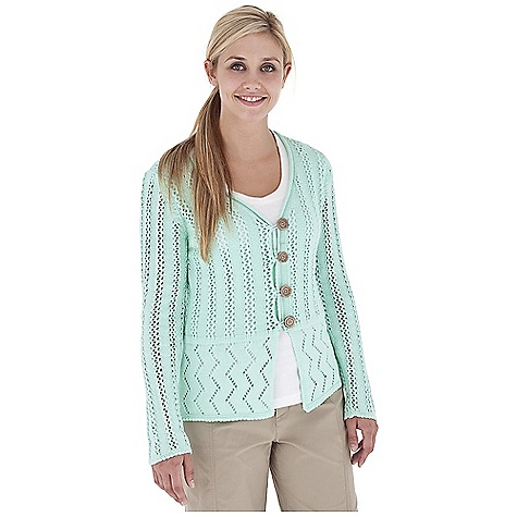Entertainment Free Shipping. Royal Robbins Women's Traveler Sweater DECENT FEATURES of the Royal Robbins Women's Traveler Sweater Lightweight Button front cardigan 3/4 sleeve Mixed pointelle stitches in mixed patterns The SPECS Regular fit Center Back Length: 23in. Dropped in front Fabric: Summer Time Yarn 5 g 88% Cotton / 12% Polyester Garment washed - $59.95