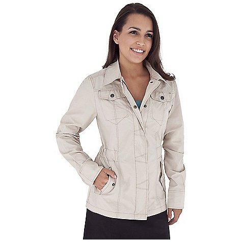 Entertainment Free Shipping. Royal Robbins Women's Promenade Jacket DECENT FEATURES of the Royal Robbins Women's Promenade Jacket Full front zip with snap closure placket Snaps at cuff Snap close flaps on chest pockets Logo rivet reinforced pockets Adjustable waist tabs at back The SPECS Trim fit Center Back Length: 28in. Fabric: Maori 4 oz 70% Cotton / 30% Nylon - $84.95