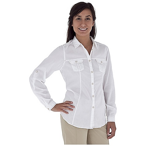 Camp and Hike Free Shipping. Royal Robbins Women's Summer Camp L-S Top DECENT FEATURES of the Royal Robbins Women's Summer Camp Long Sleeve Top Soft collar Tonal stitching details Chest pockets with button flap Princess seams Roll-up sleeve tabs Shirt tail hem The SPECS Regular fit Hip length Fabric: Cotton Lawn 2 oz 100% Cotton Garment washed - $59.95
